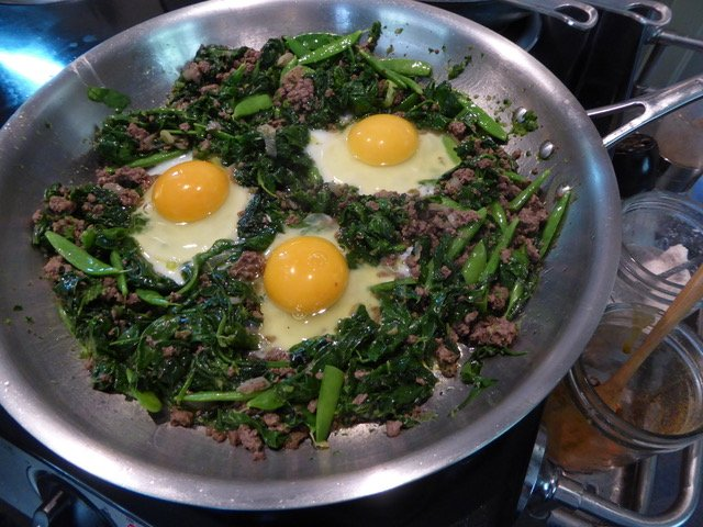 fried greens with egg recipe